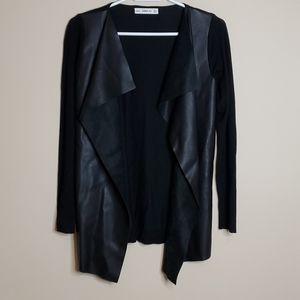 Zara Faux leather cardigan size s